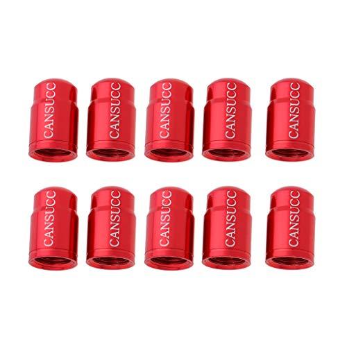 Baoblaze 10 Piezas de Casquillos de Válvulas Schrader/Presta de Aluminio, Tapón de Válvulas para Bicicletas Anti-Polvo - Presta Red, Tal como se Describe