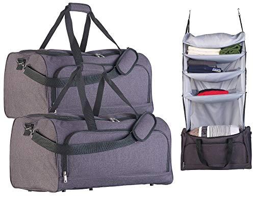 Xcase Gepäck: 2er-Set Faltbare Reisetaschen mit Wäsche-Organizer zum Aufhängen (Handbag-Reisetaschen)