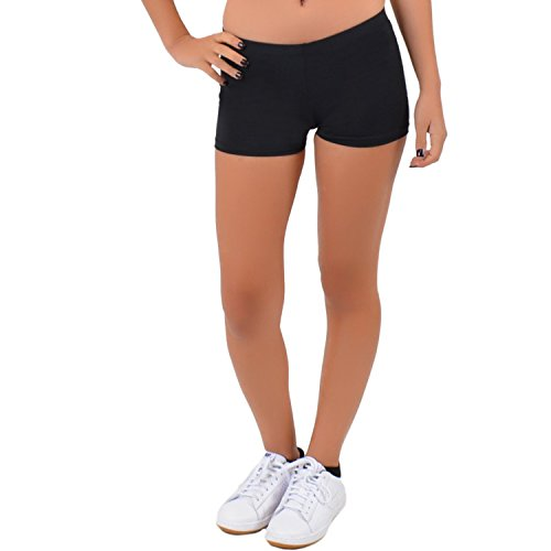 Stretch is Comfort Women's Nylon Spandex Stretch Booty Shorts Black Small