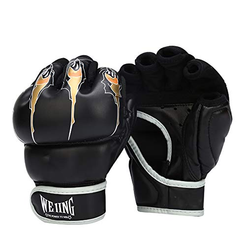 JJEB MMA Gloves Half Finger Boxhandschuhe Dicke Boxhandschuhe für den Kampf,Black,L-7OZ