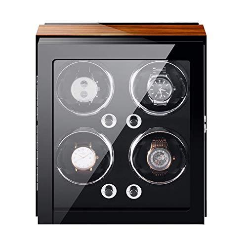 XIUWOUG Expositor automático para relojes de 4/6/9 relojes, almohadilla ajustable para reloj de pulsera, motor ligero y silencioso, 4 ajustes para el modo de rotación (tamaño: 4+0)