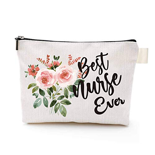 YouFangworkshop Best Nurse Ever Makeup Bag, Nurse Gift Bag Wedding Emergency Kit, Nurse Doctor Cosmetic Bag Gifts for Women, Travel Portable Makeup Pouch Toiletry Organizer for Women