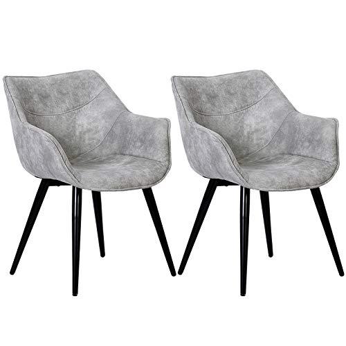 WOLTU Esszimmerstühle BH99hgr-2 2er Set Küchenstühle Wohnzimmerstuhl Polsterstuhl Design Stuhl mit Armlehne Stoffbezug Gestell aus Stahl Antiklederoptik Hellgrau
