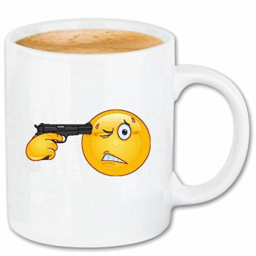 Reifen-Markt Kaffeetasse KOPFSCHUSS Smiley MIT Smileys Smilies Android iPhone Emoticons IOS GRINSE Gesicht Emoticon APP Keramik 330 ml in Weiß