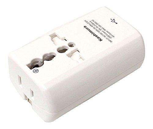 カシムラ 海外用 変換プラグ 2口電源 + USB2.1Aポート 世界対応 電源プラグA/B/C/O/SE/BF / B3 / O2 NTI-165