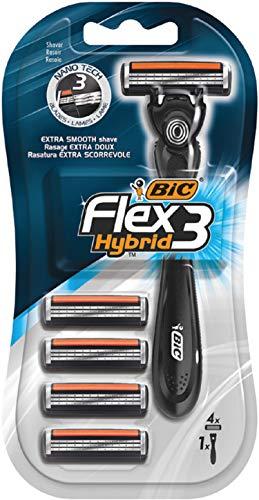 BIC Flex3 Hybrid - Set di 1 rasoio + 4 lamette