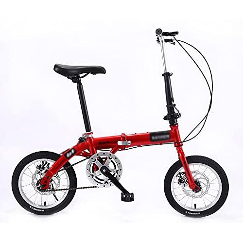 N / E Bicicleta Plegable de 14 Pulgadas, manillares Ajustables y Asiento, Bicicleta Plegable Ultraligera portátil para Adultos, Adecuada para Adolescentes y Adultos