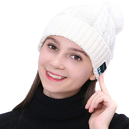 diirm Warme Beanie-Mütze, kabellos, Bluetooth, Smart Cap, Headset, Kopfhörer und Lautsprecher mit Mikrofon Gr. S, weiß