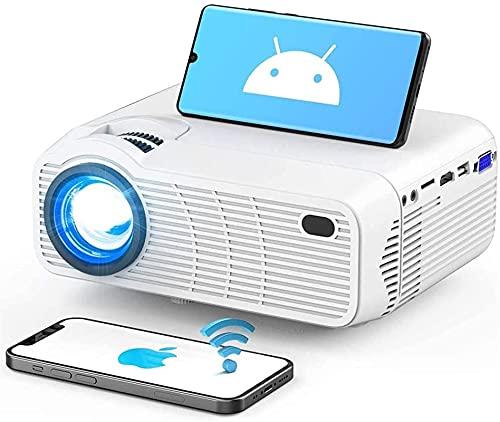 Mini proyector, proyector de películas WIFI portátil con sincronización de la pantalla de teléfono inteligente, pantalla 1080p y 200 'compatibles con la pantalla, compatible con Android, iOS, tv Palo