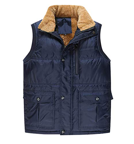 Wenchuang Hombres Invierno Sin Mangas Chaqueta Chaleco Tallas Grandes