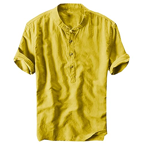 Camisa De Hombre De Moda BotóN Casual De AlgodóN De Lino Camisa De Manga Corta para Hombre Camisa Formal De Pareja De Verano para Hombre