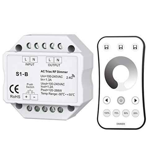 ELENXS Triac LED Dimmer 100-240VAC Wireless Funk Dimmbare Druckschalter 2.4G Fernbedienung einfarbige LED-Birnen-Lampen-Dimmer