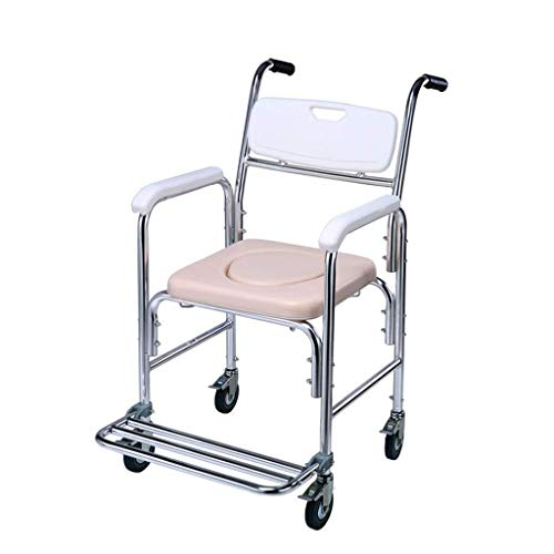 Bathroom Wheelchairs RRH Bedside Commodes Commode Chair with Wheels - Bath Chair Waterproof Aluminum Alloy Frame Max Safe Load Capacity 275lbs