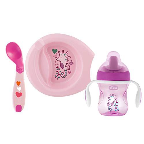 Chicco - Set vajilla comida completo, incluye plato + cubiertos + vaso, ideal bebés, 6 m+, color rosa
