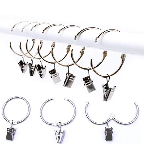 Miya@ hochwertige 10 Packung Metall Vorhang Clip Ringe Gardinenringe mit Clip Drpery Vorhang Ringe mit Clip Leicht zu öffnen und Schließen, 38 mm Innendurchmesser (Silber)