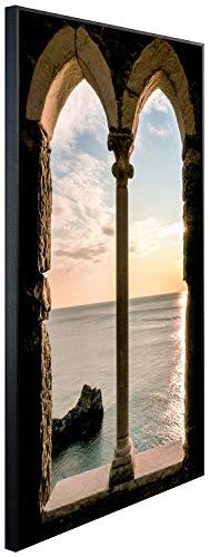 Ecowelle Infrarotheizung mit Bild | 500 Watt | 80x60x3cm | Infrarot Heizung| | Made in Germany | d 71 Meer durch altes Fenster