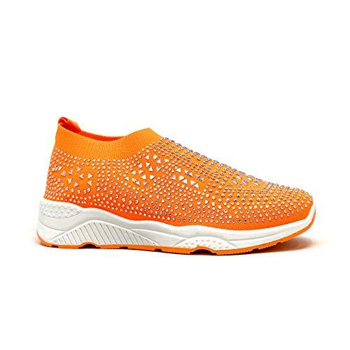 Angkorly - Damen Schuhe Sneakers - Turnschuhe - Kasual - Sock Boots - Tennis - Strass Diamant - Strick - elastisch Flache 3 cm - Orange 7 TS-501 T 39