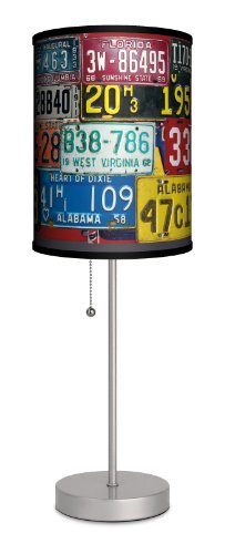 Lamp-In-A-Box SPS-TTN-VTGPL Transportation Vintage Plates Sport Silver Lamp, 7' x 7' x 20'