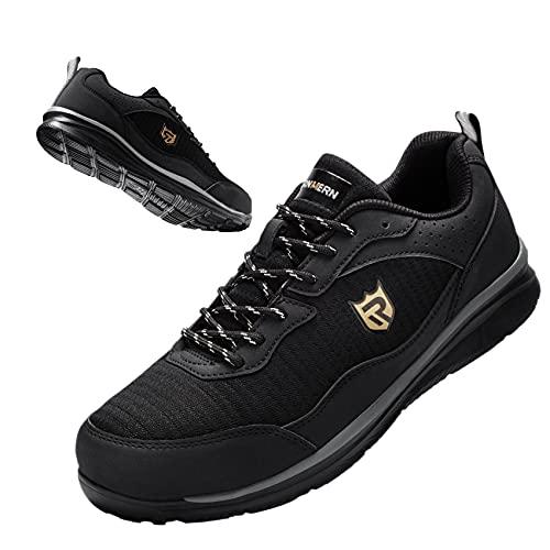 LARN SAFETY Zapatillas Seguridad Trabajo Hombre Anti-aplastamiento Respirable Ligero Anti-pinchazos Reflexivo SBP Calzado Seguridad(Negro,43EU)