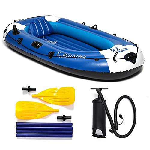 SZTUCCE Barco de esquí de Agua portátil Inflable de 3 Personas en Barco con Paddles Bomba CLORURO DE POLIVINILO Barco de Pesca de Goma rodamiento 210kg 225x127cm (Color : A)