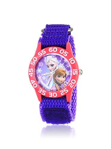 Disney Kids' W001789 Frozen Elsa and Anna Watch, Purple Nylon Band