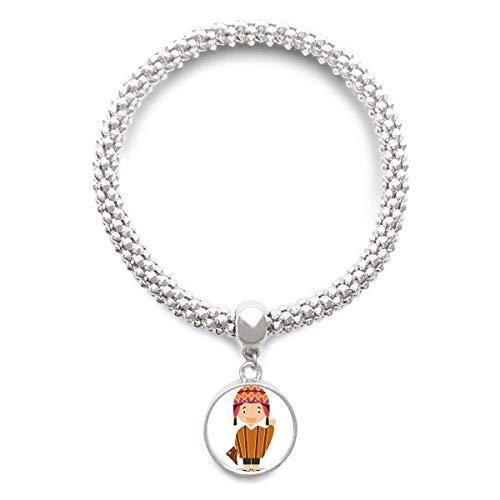 DIYthinker Damen Bunte Hut Peru Karikatur-Splitter Armband Laufende hängende Schmuckkette