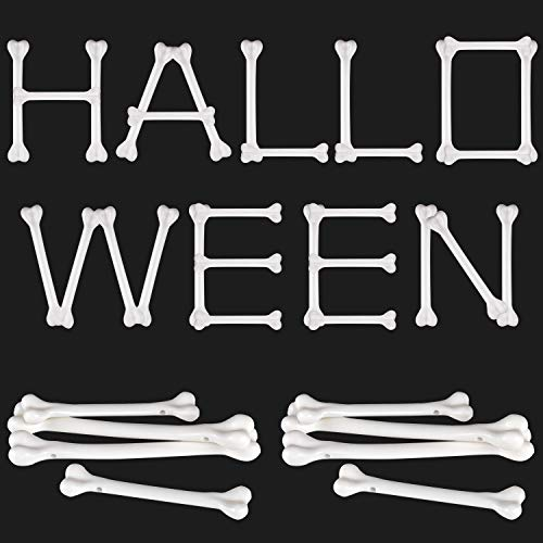 meekoo 36 Pieces White Plastic Bone Halloween Bones Halloween Skeleton Bones Decoration for Caveman Theme Costume Supplies