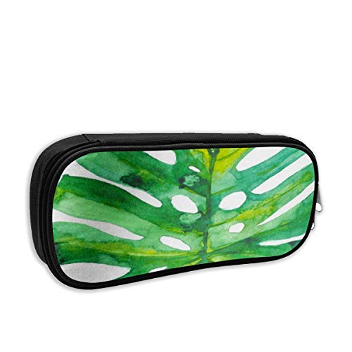 Cute Canvas Pencil Case Pen Bag,Portable Pencil Pouch with Compartments for Teen Girls(Hawaii Handpainted Green Watercolor Tropical Palm Leaf On White of Plant Monstera Aloha Botanical)
