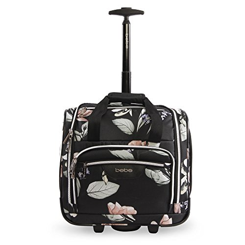 BEBE Women's Valentina - Wheeled Under The Seat Carry-on Bag, Black Floral, One Size