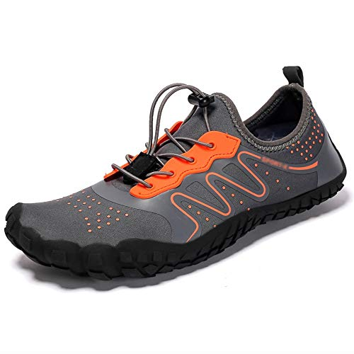 Men Women Durable Hiking Shoes Sneakers Outdoor Climbing Trekking Sport Footwear Nonslip Flat Shoes Unisex Wading Water Sneakers (Color : Orange, Size : UK-8.5/EU42/US-9)