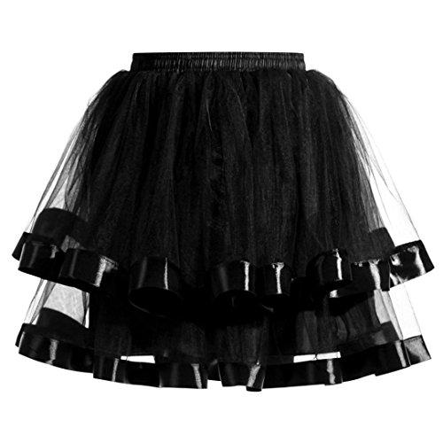 SHOBDW Mujeres Plisadas Falda de Gasa de Adultos Falda de Baile tutú Retro Rockabilly Enaguas Miriñaques Faldas (Negro, One Size)