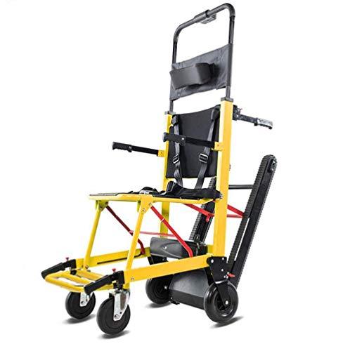 La silla de ruedas eléctrica plegable puede subir escaleras. Silla de ruedas portátil. Viaje ligero, para discapacitados y ancianos. Sube y baja la escalera completamente automática.,Amarillo
