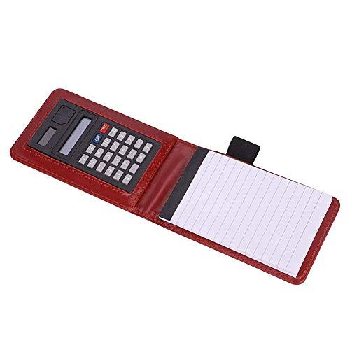 Quick Notes A7 - Taccuino portatile in pelle PU, con tasca a righe, per diario e scrittura, quaderno per conto, agenda personale, con calcolatrice e inserto penna