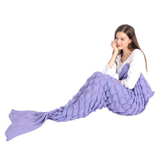 Grefine - Manta de cola de sirena de lana tejida a ganchillo para niñas con escamas de pescado, manta de sofá suave y cálida para todas las estaciones, saco de dormir en 4 colores, 81 x 36 pies (morado)