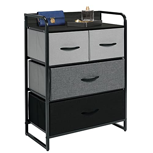 mDesign - Torre de almacenamiento para aparador, marco de acero resistente, parte superior y asas de madera, cubos de tela de fácil...