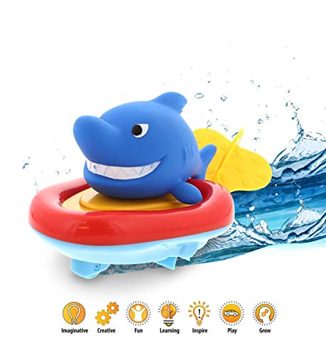 DolliBu Boat Racer Buddy, Fun Educational Bath Toy Finger Puppet Pull and Go Water Racing Pal for Shower Pool Bathtub Swim Hard Surfaces for Baby Toddler and Boy - 6 Inch - 3 in 1 Game (Shark)