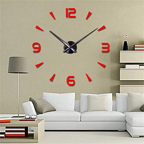 CreationStore Decorative 3D DIY Wall Clock, Frameless Wall Clock with Mirror Surface,Wall Stickers,Large Size Wall Decorative Clock for Living Room Bedroom Office Hotel (Red)