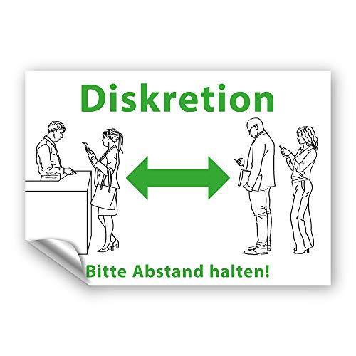 Aufkleber Diskretion - Bitte Abstand halten! Warnhinweis UV-beständig & wasserfestes PVC - 300x195 mm - auch für Außen (grün)