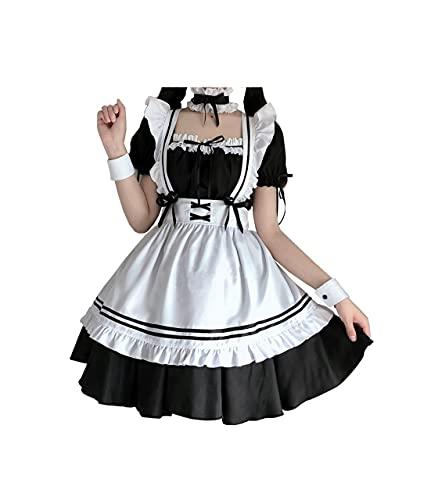 IDEALcos Halloween Maid Cosplay Kostüm Party Dress up Lolita Kleid Outfits für Frauen Mädchen (Farbe1, S)