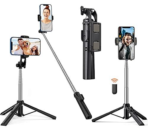 Charwin Palo Selfie Trípode 80cm, Multifuncional Tripode para Móvil con Mando Inalámbrico, con Aluminio Resistente y Trípode para iPhone/Android, Grabación de Videos, TIK Tok, Transmisión en Vivo