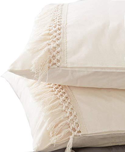 Flber - Juego de 2 fundas de almohada de algodón con borlas