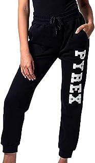 Pyrex Pantalone Tuta Donna in Cotone Garzato Nero Donna Nero MOD. 40004