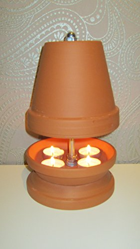 Teelichtofen Kerzenofen Teelichtheizung Höhe 27cm Durchmesser 16cm Farbe Terrakotta