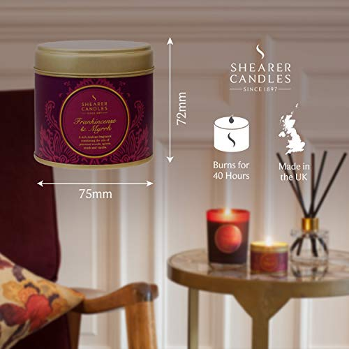 Burgundy Shearer Candles Frankincense and Myrrh Scented Jar Candle with Gold Lid