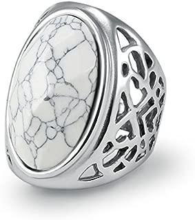 LALISA Women Ladies Stainless Steel Fashion White Turquoise Stone Charm Ring Size 7-11 (9)