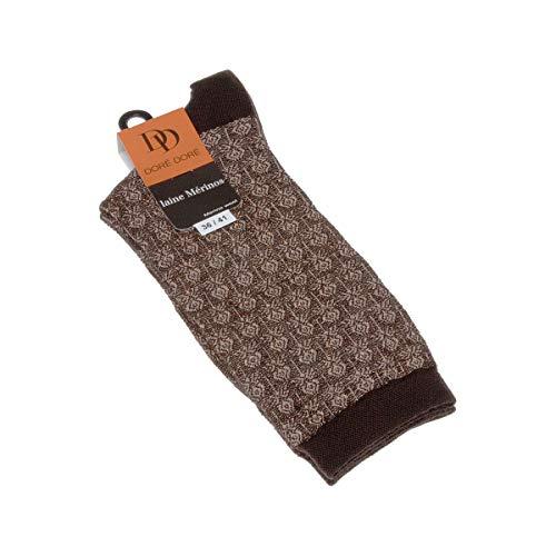 Dore Dore Socke über das Kalb - 1 paar - verstärkte Ferse - Verstarkte zehen - Flachnaht - ohne Frotte - Mode - Chaude - Laine - Marron - DD - 36/41