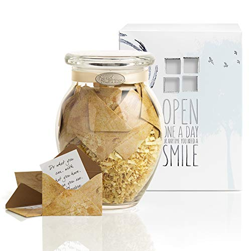 KindNotes Glass Keepsake Gift Jar with Inspirational Messages - Vintage Letters