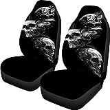 Buybai Car Seat Covers Set Universal Flat Fabric Car Seat Cover Skull Print Automatic Seat Protector Fit SUV Truck Van (Black)