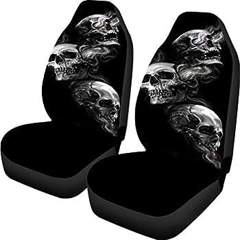 Buybai Car Seat Covers Set Universal Flat Fabric Car Seat Cover Skull Print Automatic Seat Protector Fit SUV Truck Van  Black