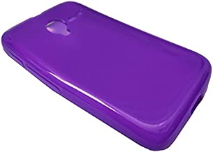 For Alcatel Onetouch Pixi GLITZ A463BG Soft TPU Crystal Skin Protective Case Phone Cover + Screen Protector + Happy Face Phone Dust Plug (TPU Purple + Screen Protector)